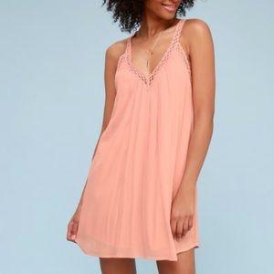 Lulu's I'm Impressed Blush Crochet Dress, Small